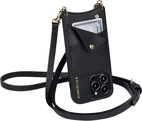 Bandolier Emma Crossbody Phone Case and Wallet - Black Leather with Gold Detail - for iPhone 12/12 Pro