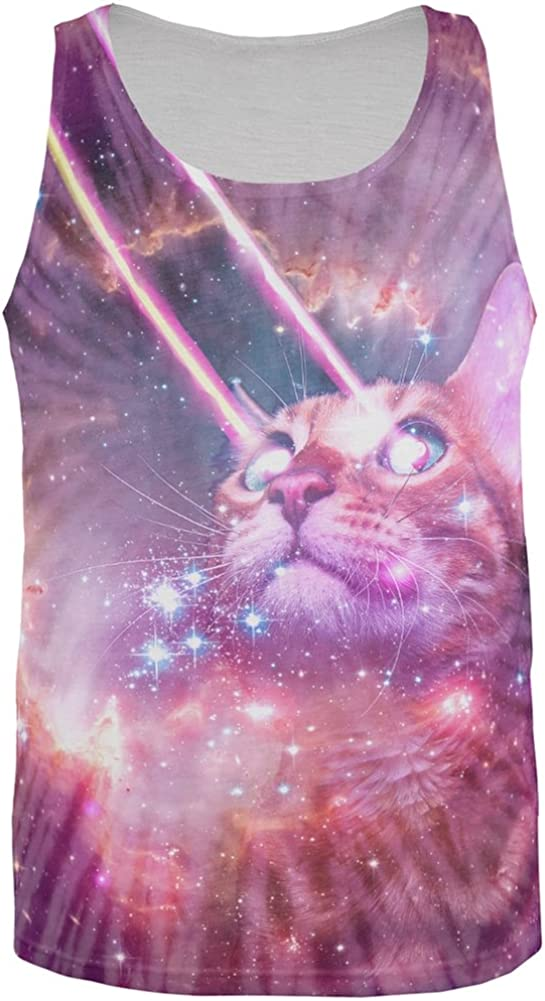 Galaxy Hippie Cat All Over Adult Tank Top