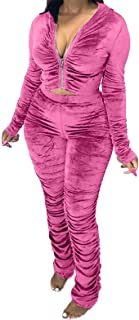 Akk Tracksuit for Women Set 2 Piece Joggers Velour Sweatsuit Outfits Zip Up Hoodie and Stacked Sweatpants Set