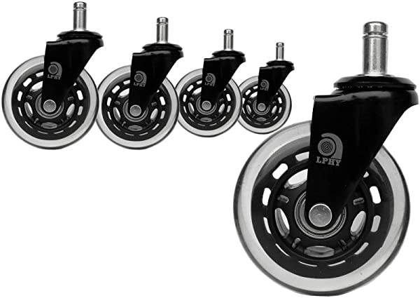 LPHY Office Chair Caster Wheels Heavy Duty Universal And Safe For Carpet Hardwood Floor 3 Inch No Brake Black Set Of 5