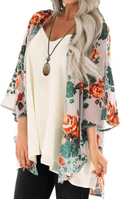 BB&KK Women's Chiffon Boho Kimono Cardigans Casual Loose Open Front Cover Ups