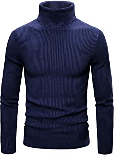 Men's Knitted Jumpers Turtleneck Soft and Comfortable Sweater Basic fine Knit Slim fit Sweatshirts Men's Solid Color Warm ...