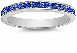 blue sapphire channel set ring