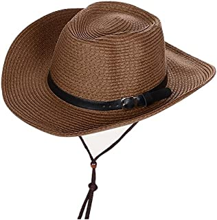 AINIYF Children's Sun Hat Outdoor Summer Men Fishing Straw Sun Protection Beach Hat with Chin Band (Color : White, Size : 56-58cm)