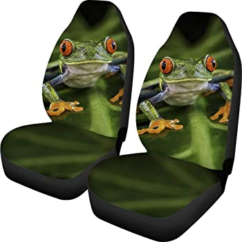 New Green Tree Frog Car Front Back Seat Covers Steering Wheel Cover Interior Set