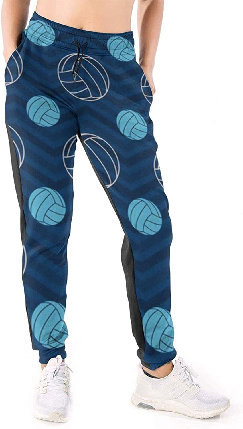 Women Joggers Pants Blue & Tan Chevron Volleyball Ball Athletic Sweatpants with Pockets Casual Trousers Baggy