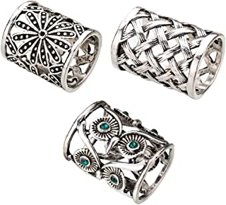 Joyci 3pcs Retro Women's Scarf Ring Clip Slide in Gold Silver Tone Metal Antiqued Hollow Tube Chiffon Buckle