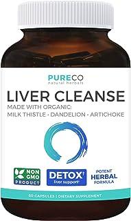 Organic Liver Cleanse & Detox - Milk Thistle Extract (80% Silymarin), Dandelion Root, Artichoke Leaf & Yellow Dock - Non G...