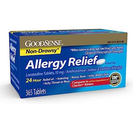 GoodSense Allergy Relief Loratadine Tablets 10 mg, Antihistamine, Allergy Medicine for 24 Hour Allergy Relief, 365 Count