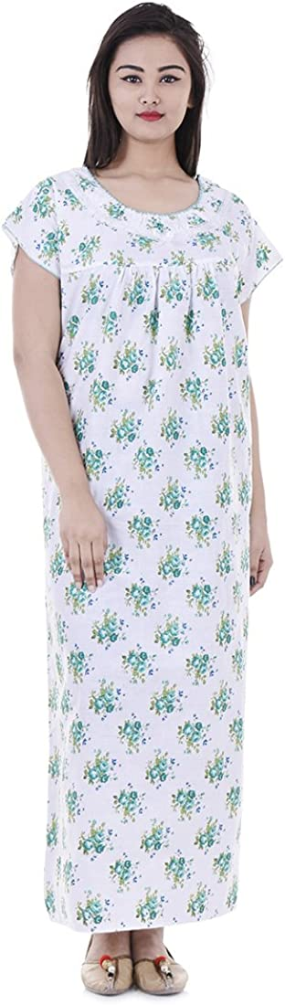 Indian Womens Nightshirt Long Nightgown, Casual Button Up Sleepw