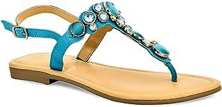 Eske Paris ARY Leather Latest Fashion Comfortable Women Toe Ankle Strap Flat Sandal, Cosmos Aqua