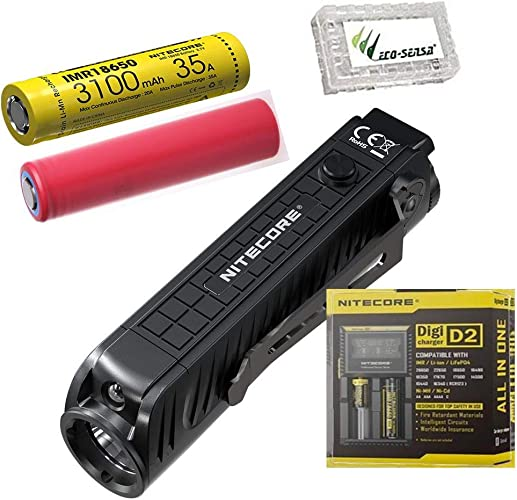 Nitecore P18 Unibody Die-cast Futuristic Tactical Flashlight - 1800 Lumen w Extra 3500mAh 18650, D2 Charger & Eco-sensa Battery Case