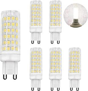 Zhzai G9 LED 5.5W Flicker-Free Ceramic Base LED Light Bulbs G9 Base R80 110v-130v 60W Equivalent White 550LM Daylight White (5000K) Pack of 6