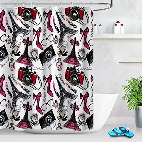 WANGXIAO High Heel Parfüm Lippenstift Eiffelturm Kamera Duschvorhang Wasserdichter Stoff Toilettendekoration 12 Haken