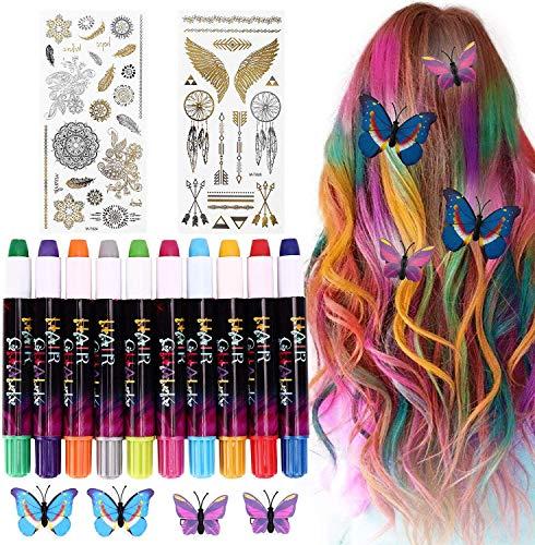 Haarfärbemittel Haarkreide für Mädchen, Buluri Haarkreide Non-Toxic 10 Farbe Natürliche Haare Kreide Stifte Temporäre Haarkreide, Perfektes Geschenk für Karneval, Weihnachten Geburtstag Weihnachten