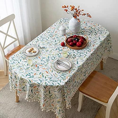 Mantel Ovalado con Estampado Moderno, Mantel de algodón, Lino, café, té, Mantel con Encaje, decoración para el Exterior del hogar, S 140x220cm