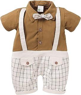 صيف طفل أولاد منقوشة أكمام قصيرة سترة بذلة انسان محترم رومبير (Color : Khaki, Kid Size : 3M)