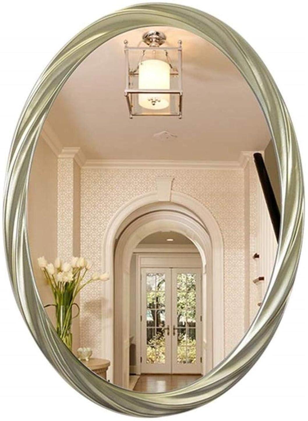 ほとんどない抜本的な並外れたGCX- メイクアップミラーシンプルでモダンな装飾Spiegelwandbehangオーバル浴室バニティミラー ファッション (Color : Light Yellow)