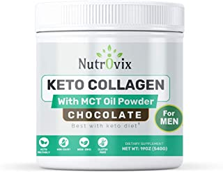 Nutrovix Keto Collagen with Mct Oil Powder Chocolate Flavor for Men