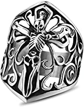 Men's Stainless Steel Punk Gothic Jewelry Silver Plated Jesus Skull Head Finger Ring