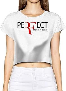 ErLiu Ss Women's Roger Federer Short Sleeve Leak Navel T-Shirt White