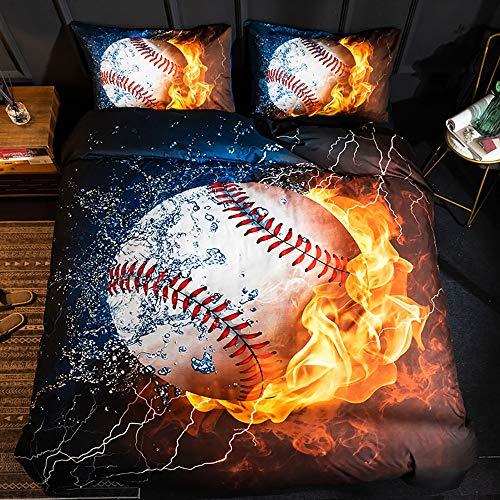Langde Bettwäsche-Set Sport Baseball Muster mit Reißverschluss, Bettbezug 135 x 200 cm, 1 x Kissenbezügen 50 x 75 cm, Super Weiche Modernes Rote Flamme Musterdesign 3 TLG. Bettwäsche Set