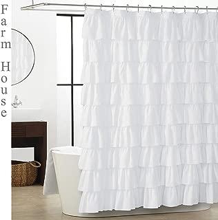 WestWeir White Ruffle Shower Curtain - Farmhouse Cloth Bathroom 72 x 72 Inches Texture Fashion