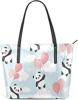 MyDaily Damen Handtasche Cute Panda PU Leder Tragegriff Schultertasche