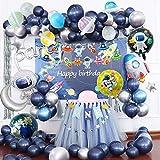 Joeyer Decoraciones Cumpleaños, 54 PCS Astronauta Tema Espacial Globos Pancarta de Cumpleaños Cortina de Flecos Cohete Globo Decoraciones para Fiestas de Cumpleaños