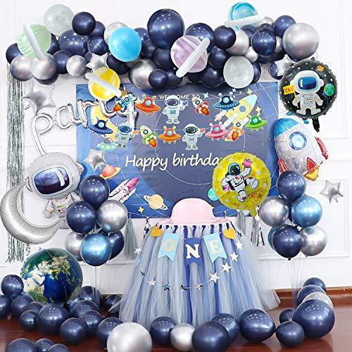 Joeyer Decorazioni di Compleanno Palloncini, 54 Pezzi Astronauta Fantascienza Palloncino Fringe Curtain Outer Space Science Theme per Feste di Compleanno (1)