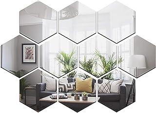 Wall1ders - 10 Hexagon Silver (Size 10.5 x 12.1) 3D Acrylic Stickers, 3D Acrylic Mirror Wall Stickers for Living Room, Hal...