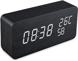 Qoosea Reloj Despertador LED Reloj de Alarma de Madera Comando de Voz táctil Relojes Digitales USB Reloj de Madera Moderno 3 Niveles Brillo Ajustable 3 Alarmas Reloj de Escritorio Hora