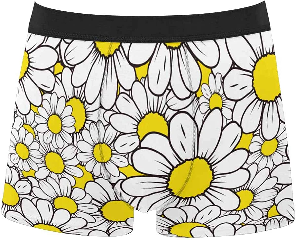 InterestPrint Men's All Over Print Boxer Stretch Underwear Shorts Underpants Daisies on Black Background
