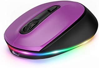 seenda Bluetooth Mouse, Ultra Quiet Rechargeable Light Up Wireless Mouse(Bluetooth 5.0/3.0+USB) Support Up to 3 Devices fo...