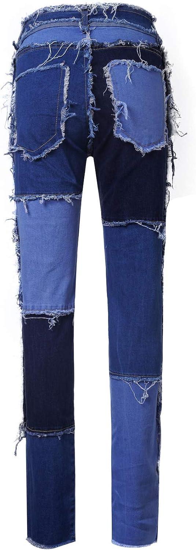 YILEEGOO Women Mid Rise Jeans Straight Denim Pants Color Block Patchwork Frayed Boyfriend Jeans