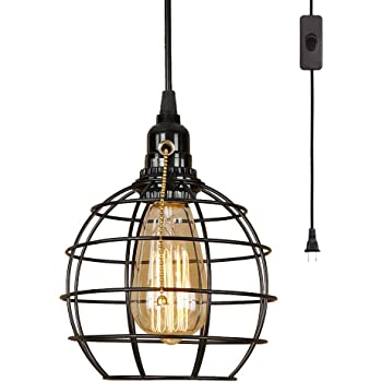 EFINEHOME Retro Industrial Globe Plug in Swag Lamp Light Fixture with 15 Ft Cord On/Off Switch Edison 1 Light Great for Home Decor DIY Projects