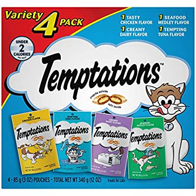 TEMPTATIONS Classic Cat Treats Feline Favorites Variety Pack, (4) 3 oz. Pouches