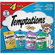 TEMPTATIONS Classic Crunchy and Soft Cat Treats Feline Favorite Variety Pack, (4) 3 oz. Pouches