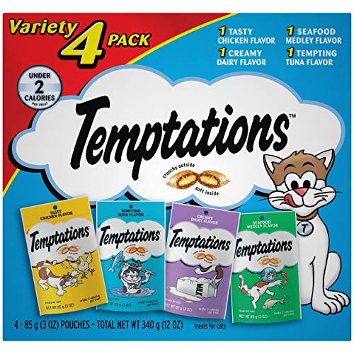 TEMPTATIONS Classic Crunchy and Soft Cat Treats Feline Favorite Variety Pack,...