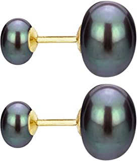 14k Yellow Gold 8-8.5mm and 10-10.5mm Button Shape Freshwater Cultured Double Pearl Stud Earrings
