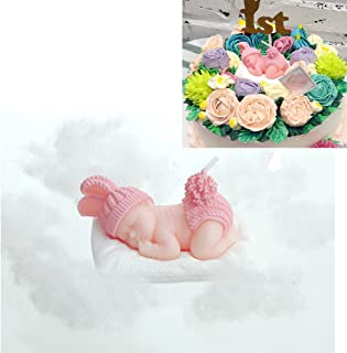FLYPARTY Children's Birthday Candles with Greeting Card,Handmade Adorable Sleeping Baby Smokeless Baby Shower Baby Birthday Cake Topper Candle , Baby Shower Party Favors Decorations (Pink Girl)