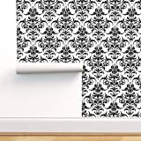 Spoonflower Peel and Stick Removable Wallpaper, Damask Fleur De Lis Modern Victorian Black and Print, Self-Adhesive Wallpaper 12in x 24in Test Swatch