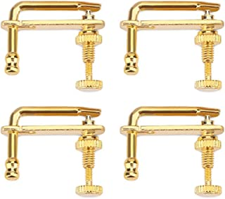 4Pcs String Adjuster Tuners, Durable Alloy Fine Tuners String Adjusters Replacement Parts for 4/4 Violin(Gold)
