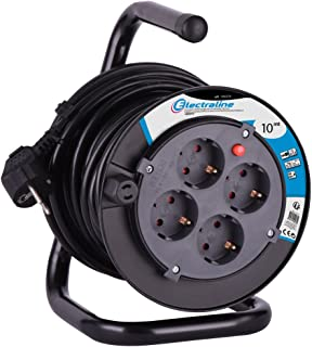 comprar comparacion Electraline 100238 Enrollacables 10 M, 4 Tomas Schuko, Cable Sección HO5VVF 3G1.5, Negro
