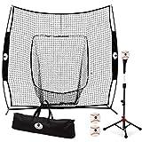 Morvat Baseball Net and Baseball Tee Bundle, Baseball Pitching Net, Baseball Training Equipment for Hitting...