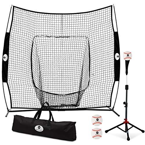 Morvat 7 x7  Baseball Backstop Softball Net- Batting Net for Baseball & Softball, Baseball Backstop Pitching Net, Baseball Equipment for Catching, Hitting, Pitching Includes Softballs, Carry Bag, Tees
