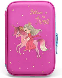 Unicorn Pencil Case for Girls | Cute Preschool, Kindergarten, and Elementary Pen Holder with Compartments |Toddler Pink School Zipper Pouch (Pink Princess)