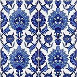 Cérames- Maram, baldosas de cerámica marroquí - 12 baldosas decorativas orientales tunecinas (0,48 m2) 20 x 20 cm para el baño, la cocina, debajo de las escaleras. Coloridos azulejos decorativos.