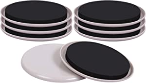RCHYFEED 8PCS Reusable Furniture Slider, 5 Inch Round Furniture Glides, Moving Pads Heavy Duty Furniture Movers for Carpet,Beige