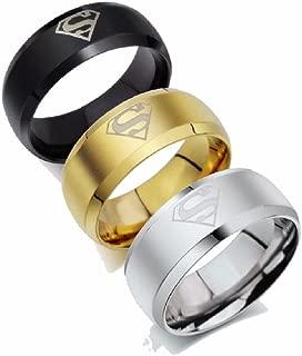 2 Pack Titanium Stainless Steel Superman Ring